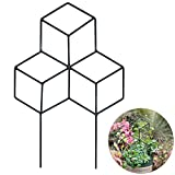 Exttlliy Black Iron Lattice-Shaped Garden Trellis Plant Supports Climbing Plants Flowers Climbing Staking System (Large)
