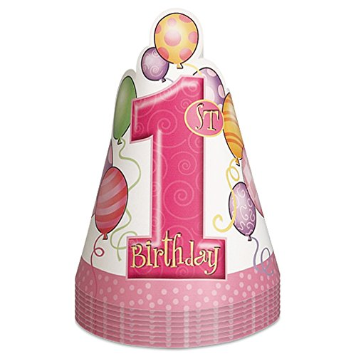 Pink 1st Birthday Party Hats product image