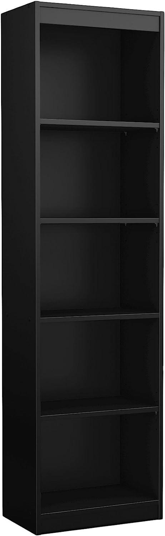 South Shore Axess Collection 5-Shelf Narrow Bookcase, Pure Black