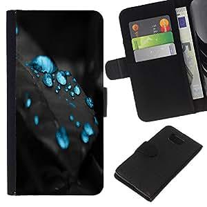 Blue Drops - la tarjeta de Crédito Slots PU Funda de cuero Monedero caso cubierta de piel Samsung ALPHA G850