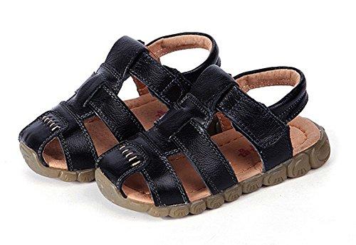 Unisex-Kinder Junge Sandalen aus weichem Leder Lauflernschuhe Outdoor Trekkingsandalen Schwarz
