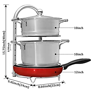 WiseLife Pan Pot Organizer Rack for 8 9 10 11 12 inch Cookware, 304 Stainless Steel Adjustable 5-Tier Cookware Holder for Cabinet Worktop Kitchen Storage Solution