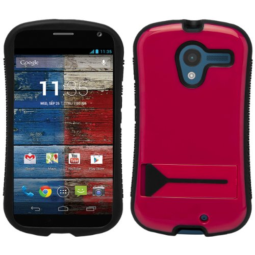 Magenta Hybrid Tough Protective Shield Cover Case with Kick Stand For Motorola Moto X Android OS V4 2.2 (Jelly Bean) + Motorola Moto X Clear Screen Protector + Supertooth Disco Bluetooth Speaker with AUX Cable + an eBigValue Determination Hand Strap by eBigValue (Image #4)