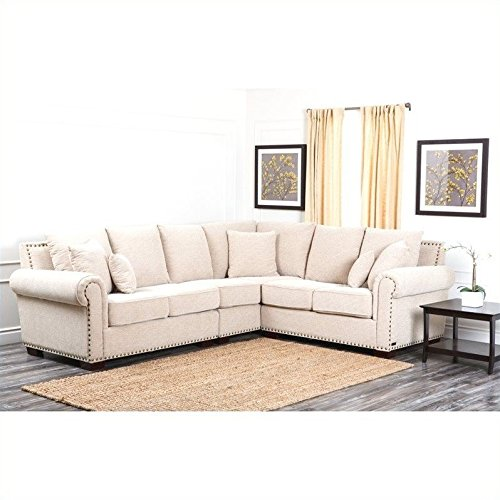 Abbyson Living Sutter CI-D150-CRM Stationary Fabric Sectional Sofa with Left Arm Facing Loveseat Corner 2 Seater and Right Arm Facing Loveseat in by Abbyson Living
