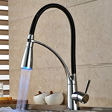 Solid Brass Kitchen Faucet With Color Changing Led Light T