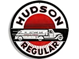 GHaynes Distributing Round Vintage HUDSON Gas Sticker Decal (gasoline logo old rat rod) 4 x 4 inch