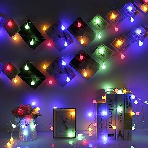 GreenClick LED Globe String Lights,40 LEDs 14.8ft Battery Powered Fairy String Lights,8 Modes Waterproof Ball Lights Indoor/Outdoor,Multicolor Starry Decorative Lights for Patio Garden Xmas Wedding