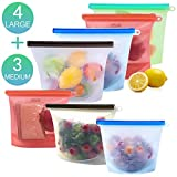 Reusable Silicone Food Storage Bags, KITHELP food storage containers with 4 large (1.5L/ 50oz/ 6 cups) food storage bags and 3 Medium (1L/ 30oz/ 4 cups) food storage bags
