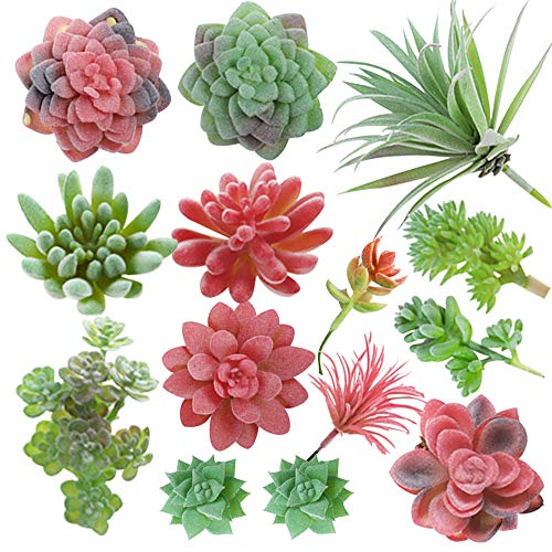 CEWOR 14pcs Mini Artificial Succulents Unpotted Fake Succulent Heads Faux Succulent Assorted for Spring Decoration and House Decoration