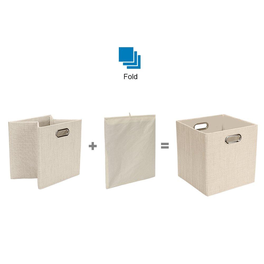 Posprica Bo/îtes de Rangement Ouvertes,Panier de Rangement Pilable en Tissu Corbeilles /à Linge,Tiroir en Tissu 28/×28cm,Beige