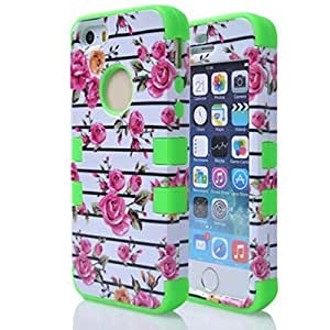 Best-elec Luxury Rose Flower Protective pc Hybrid Skin Hard Case Armor For Iphone 6Plus 5.5Inch Case Cover (green)
