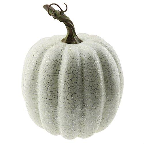 Gresorth 1 PC Halloween Decorative Sliver Line Pumpkin Artificial Fake Vegetable Decoration - White by Gresorth