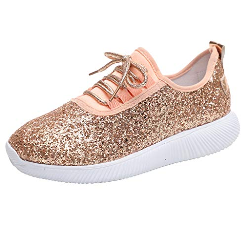 Women Fashion Glitter Sneakers Casual Elastic Tongue Lightweight Slip On Low Top Sport Jogger Shoes (US:5.5, Pink)
