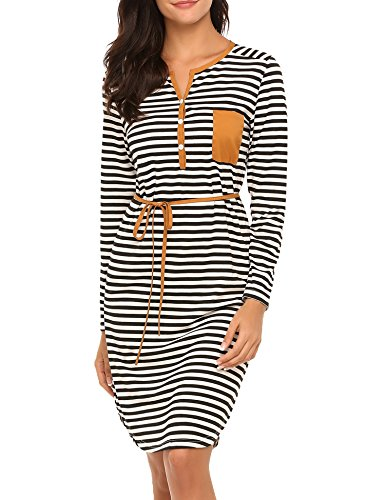 Women's Stripe Tunic Dress Casual Long sleeve Belted Dress,X-Large,Black Belted V-neck Tunic