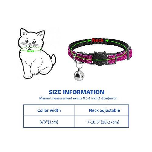Beirui 5 Set Nylon Bling Dog Kitten Cat Adjustable Breakaway Collar Bells - Sparkling Quick Release Safe Buckle Cat Collar - Glitter Puppy ID Collar - X-Small Neck 7-10.5'' by Beirui (Image #4)