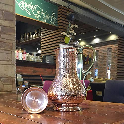 The Silk Road Trade - KS Series - NEW 2019-45oz Copper Pitcher and 7.7oz Cup Set with Lid, Moscow Mule Water Jug, Ice Tea and Juice Beverage, Desktop/Bedside Night Water Carafe Ayurvedic (Engraved) by The Silk Road Trade (Image #7)