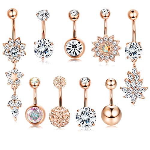 - Adramata 9 Pcs 14G Stainless Steel Belly Button Rings for Women Girls CZ Opal Navel Rings Barbells Studs Body Piercing Jewelry