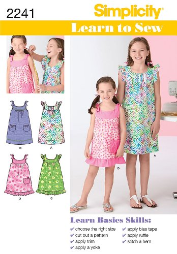 Simplicity Learn to Sew Girl's Dress Sewing Patterns, Sizes 7-8