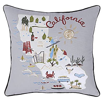 """EURASIA DECOR DecorHouzz Pillow Covers State/City Map Pillowcase Embroidered Cushion Cover Birthday Gift Graduation Gift New Home Gift 18""""x18"""""""