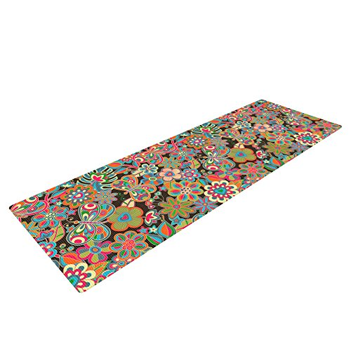 "Kess InHouse Julia Grifol ""My Butterflies and Flowers in Brown"" Yoga Exercise Mat, Rainbow Floral, 72 x 24-Inch Review"