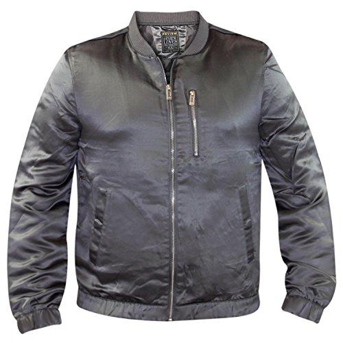 Grey acolchado MA1 ONU brillante satinado chaqueta Nuevo capa acabado Casual ligero Bomber wq75x