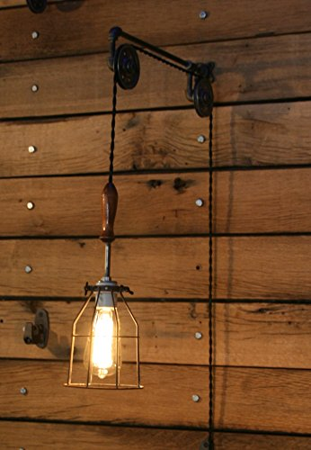 Pulley Wall mount with Industrial Cage Light and Wooden Handle - Pendant Light by Industrial Rewind by Industrial Rewind