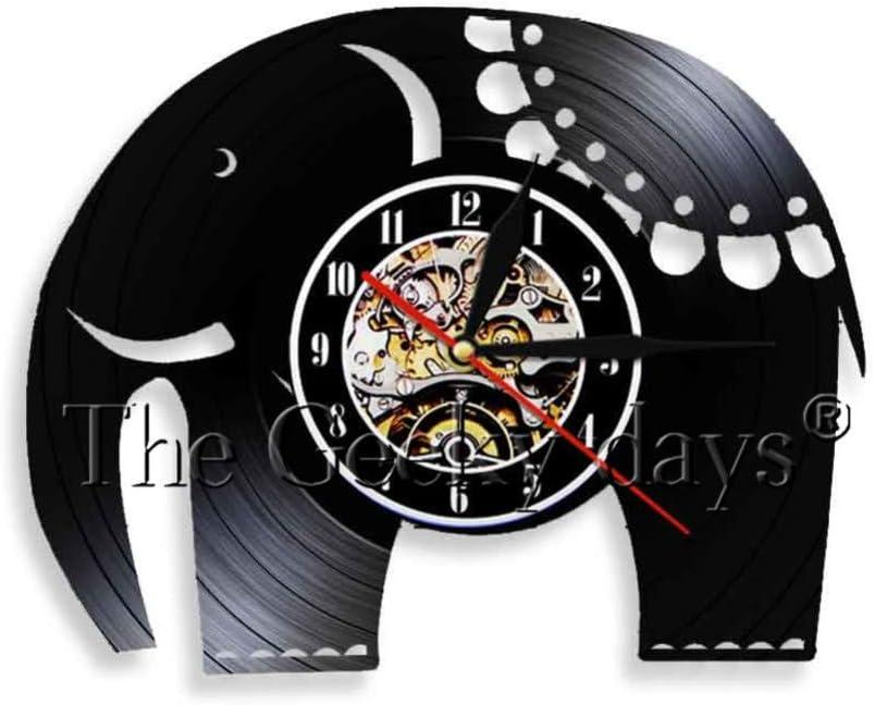 ttymei Elecphant Art Shape Vinyl Record Reloj de Pared Elephant ...