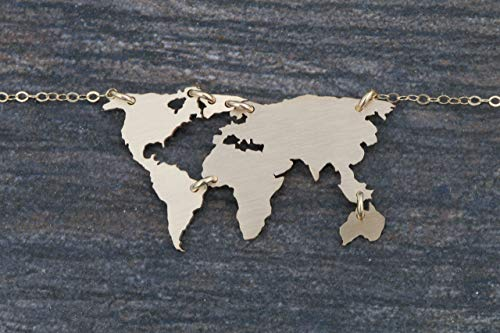 - World Map Necklace - IBD - Earth Day Gift - 935 Sterling Silver 14K Gold Filled - 1.25 Inch x 3/4 31.75 MM x 19.05 - Globe Pendant - Travel Vacation Keepsake Memento