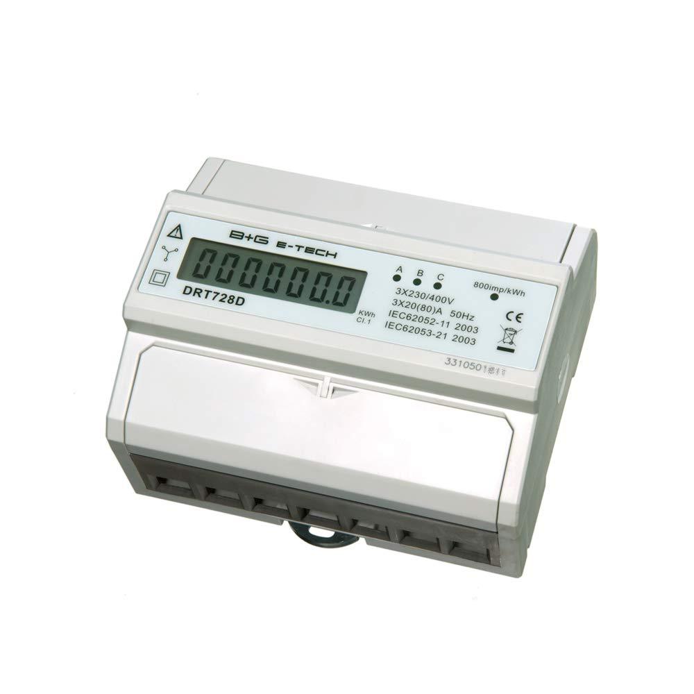 B+G E-Tech DRT728D - digitaler Stromzä hler Drehstromzä hler Wattmeter fü r DIN Hutschiene 3x20(80) A LCD S0