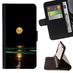 BullDog Case - FOR/Samsung Galaxy S6 / - / FULL MOON YELLOW BEACH NIGH WAVES SEA OCEAN /- Monedero de cuero de la PU Llevar cubierta de la caja con el ID Credit Card Slots Flip funda de cuer