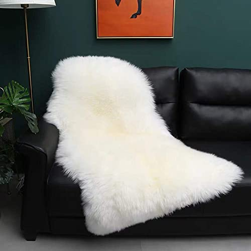 Gracefur Natural Sheepskin Area Rug Soft Fluffy Decor Rug for Bedroom Sofa Floor Single pelt