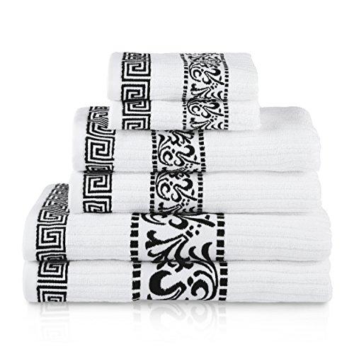 (Blue Nile Mills Decorative Athens 6-Piece Cotton Bath Towel Set, Black)