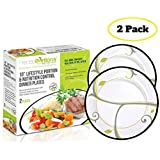 Precise Portions PPNCS-2LRP Elegant Portion Control Dinner Plates, Dietitian Developed, Help Maintain Weight, Blood Sugar, Metabolism, Blood Pressure Optimum, Porcelain China Dinnerware (Pack of 2)