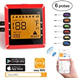 remote bbq thermometer iphone - Digital Bluetooth Meat Thermometer for iPhone - 6 Long Probes, Smart Instant Read, Phone App Wifi Remote, Battery Powered, Easy for BBQ Grilling Cooking Food, Wireless Leave in Oven Safe and Smoker