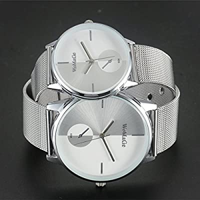 Watches for Lovers and Couples Fashion Slim Case Stainless Steel Waterproof Watch with Mesh