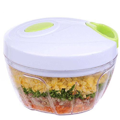 Manual Food Chopper with 3 Blades - Compact and Powerful Chopper, Perfect for Slicing, Mincing, Blending Veggies, Fruits, Nuts, Herbs, Onions and Garlic for Salsa, Salad, Pesto or Puree.