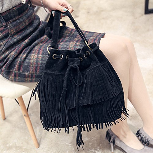 Khaki Womens black Black Shoulder Bucket Bag body Brown Bag Faux Tassels Brown Fringe Shoulder Bag Cross Suede BxqHC5a6w