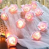 Fantasee LED Pink Rose Flower String Lights Battery Operated for Wedding Home Party Birthday Festival Indoor Outdoor Decorations Large Rose Flower Diameter 6cm (6.6ft 20LED, Pink)