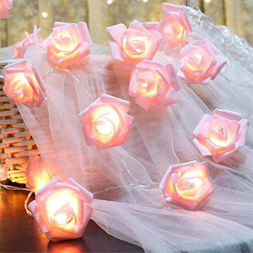 Fantasee LED Pink Rose Flower String Lights Battery Operated for Wedding Home Party Birthday Festival Indoor Outdoor Decorations Large Rose Flower Diameter 6cm (6.6ft 20LED, Pink) - Party Blue Rose