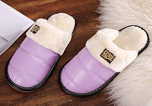 Cattior Womens PU Leather Indoor Outdoor Slippers Fluffy Slippers Purple NOPRAQLG