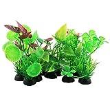 uxcell® Plastic Aquarium Aquatic Round Small Leaf Plant Grass Lawn Ornament 10pcs
