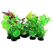 uxcell® Plastic Aquarium Aquatic Round Small Leaf Plant Grass Lawn Ornament 10pcs
