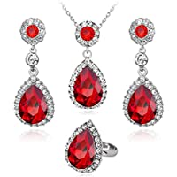 Owill Women Girls Necklace Earring Ring Set Panelled Diamond Design For Lovely Life (A, Red)