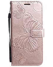 Amocase Wallet Leather Case with 2 in 1 Stylus for Samsung Galaxy S20 FE,Premium Strap 3D Butterfly Magnetic PU Leather Stand Shockproof Card Slot Case for Samsung Galaxy S20 FE - Rose Gold