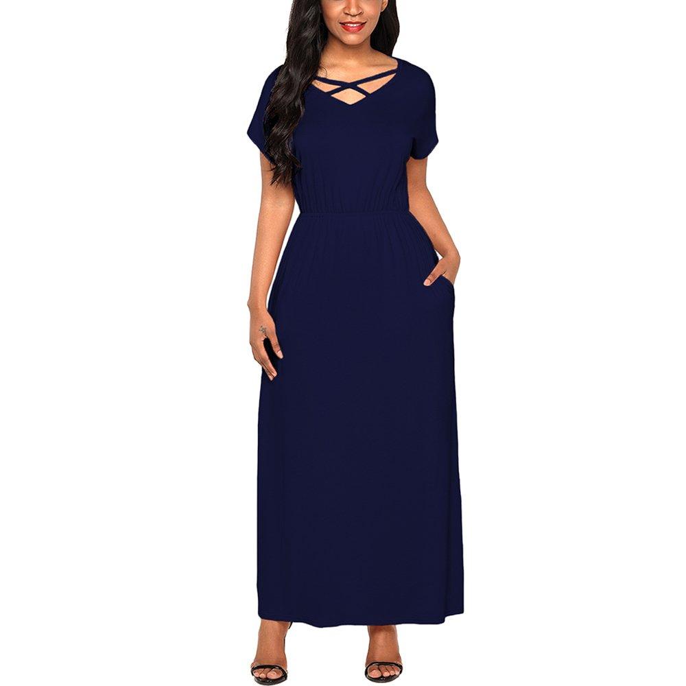 Lrud Women's V Neck Criss Cross Loose Plain Short Sleeve A-Line Long Maxi Dress with Pockets Navy-Blue-XXL