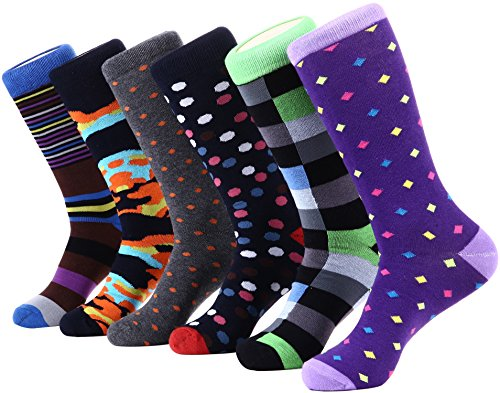 Marino Mens Dress Socks - Fun Colorful Socks for Men - Cotton Funky Socks - 6 Pack - Designer Collection - 13-15 ()