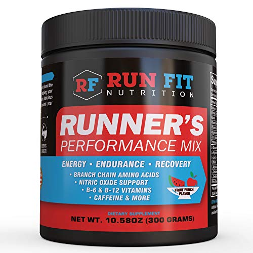 Runner's Performance Mix - Energy & Endurance Drink Mix - Running Pre Workout or During Run - B Vitamins, BCAAs, Caffeine & More! Made in The USA!