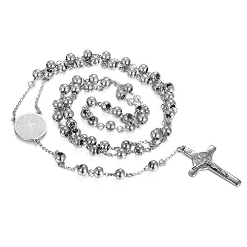 (Cupimatch Stainless Steel 6mm Beads Jesus Bible Rosary Necklace, Women Men Vintage Christ Catholic Crucifix Cross Pendant Chain)