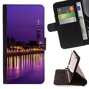 Momo Phone Case / Flip Funda de Cuero Case Cover - Luces de la ciudad de la torre Sky Scraper Noche - Samsung Galaxy S6 Edge Plus / S6 Edge+ G928