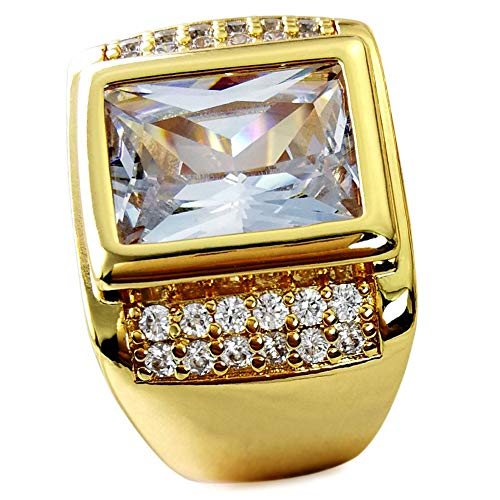 wayne-Size 8-15 Jewelry Man's AAA Sapphire 18K Gold Filled Ring R199 (8) (Gold Rings Costume Mens)